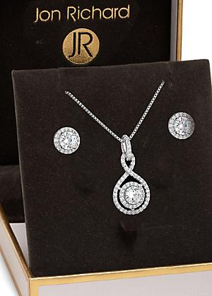 415041f150d254 Alan Hannah Round Stone Infinity Pendant & Earrings Set h