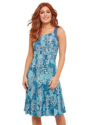 5c5c3cea42 Blue Allover Print Jersey Dress