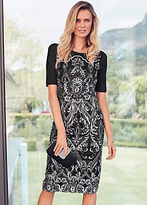 c423fefc2141d Embroidered   Sequin Shift Dress