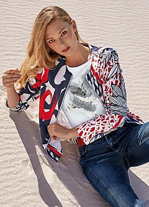 ad4d6104 Heine Print Tailored Collarless Blazer