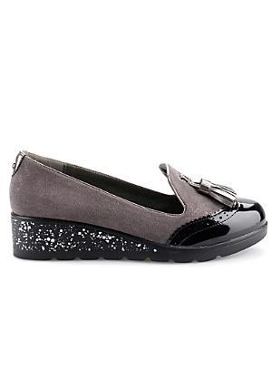 black wedge slip on shoes