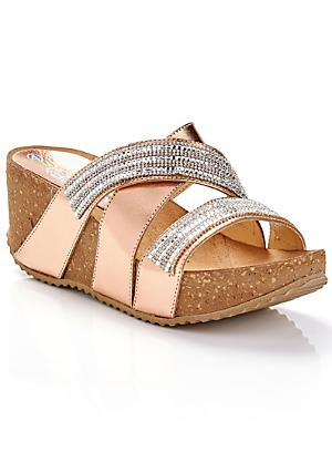 c046684a9ee0b Metallic Diamante High Wedge Sandals
