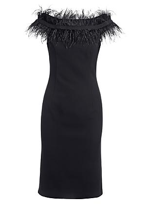ONE by Kaleidoscope Bardot Feathered Shoulder Dress