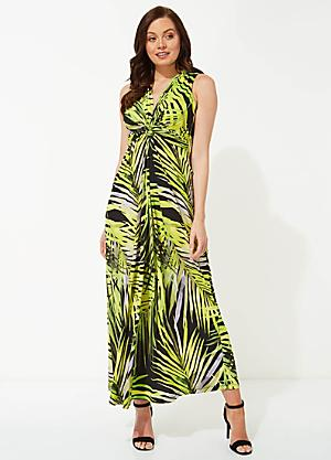 5ae8544b0b9d Roman Originals Palm Print Twist Front Maxi Dress