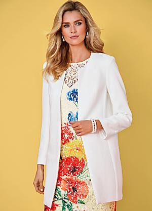 Smart Longline JacketWedding Guest Outfits   Wedding Guest Dresses   Kaleidoscope. Dress With Jacket For Wedding. Home Design Ideas