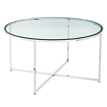 Mid Century Modern Round Glass Metal, Round Glass And Stainless Steel Coffee Table