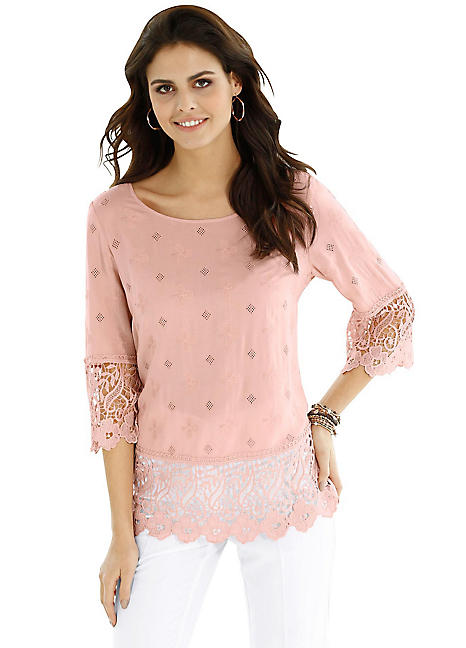 da85b82d74 Creation L Lace Trim Blouse | Kaleidoscope