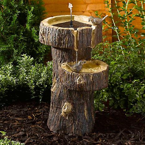 solar powered tree trunk birdbath fountain