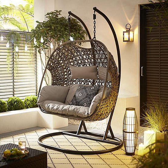 Brilliant Brampton Rattan Style Double Cocoon Hanging Chair Alphanode Cool Chair Designs And Ideas Alphanodeonline