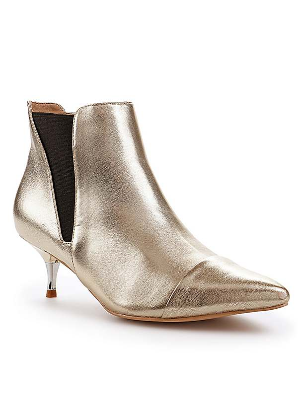 Gold Metallic Leather Ankle Boots by