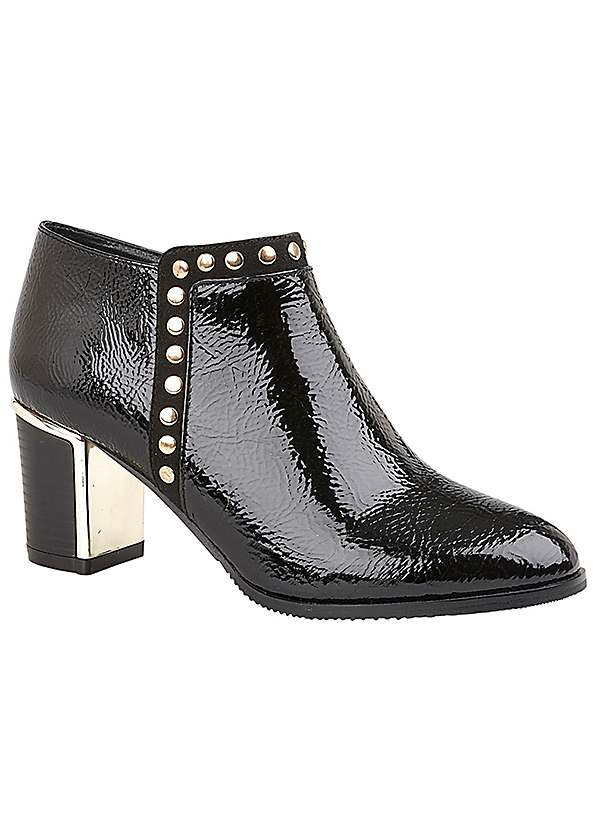 Lotus Black Patent Stud Shoe Boots