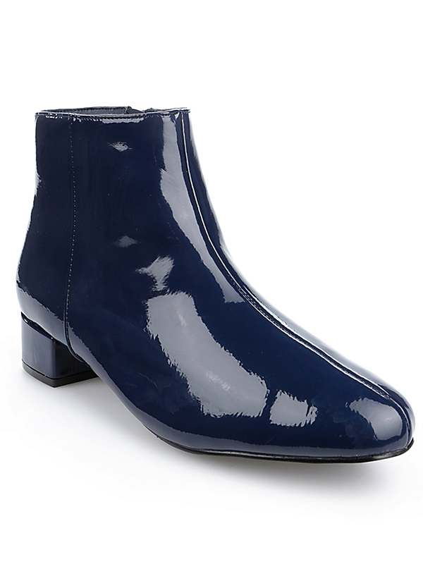 Wide Fit Midnight Crinkle Patent Ankle