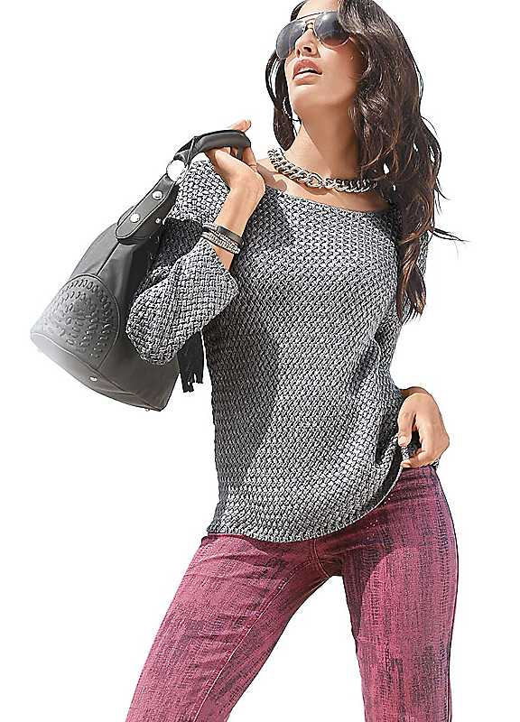 Creation L Knitted Pattern Sweater